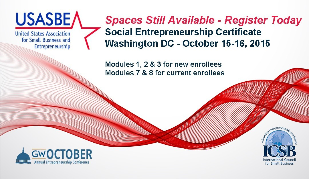 Spaces Still Available Usasbe Social Entrepreneurship Certificate
